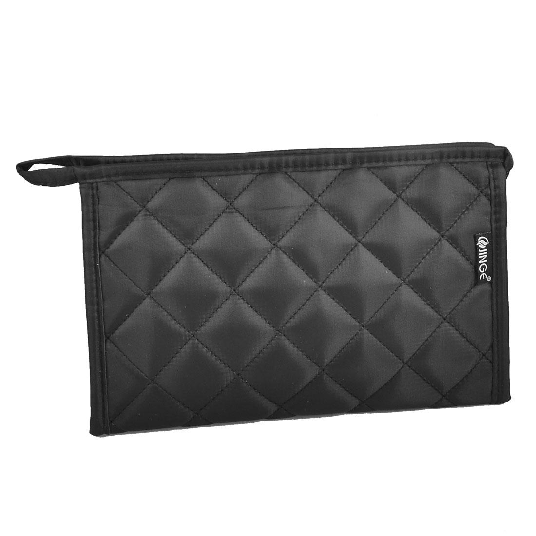 Travel Black Zipper Toiletry Case Makeup Cosmetic Bag Organizer w Mirror