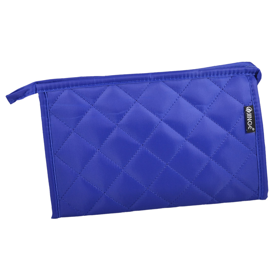 Royal Blue Plaid Zip Toiletry Case Makeup Cosmetic Bag Organizer w Mirror