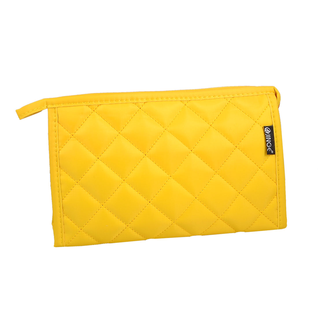 Check Pattern Zip up Rectangle Case Make up Cosmetic Bag Pouch Yellow w Mirror