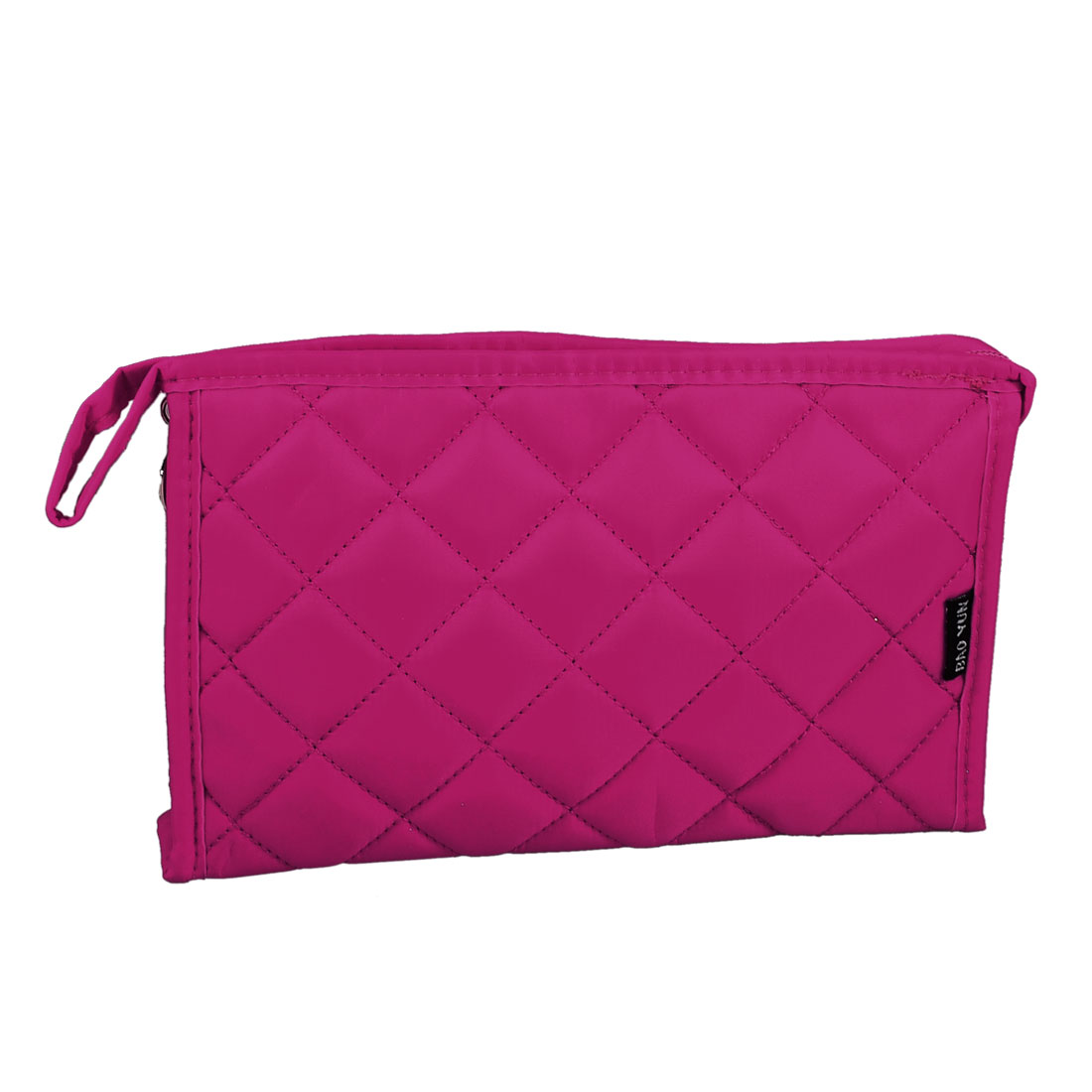 Travel Portable Zipper Rectangle Padded Case Mirror Cosmetic Bag Pouch Fuchsia