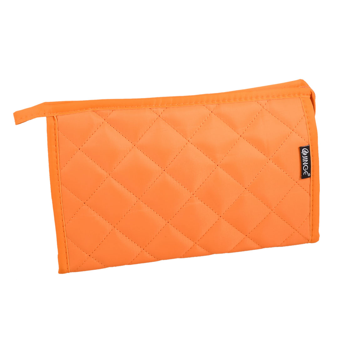 Check Pattern Zip up Padded Case Make up Cosmetic Bag Pouch Orange w Mirror