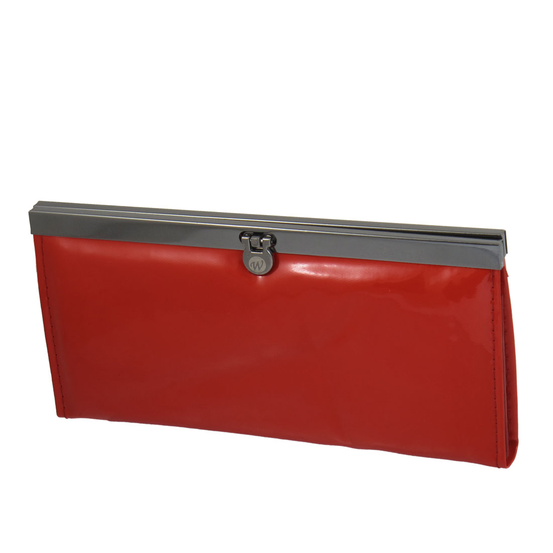 Ladies Red Faux Leather Horizontal Flip Lock Closure Wallet Purse
