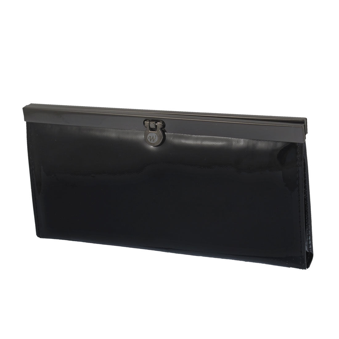 Metal Frame Trim 4 Compartment Clutch Wallet Purse Black for Women