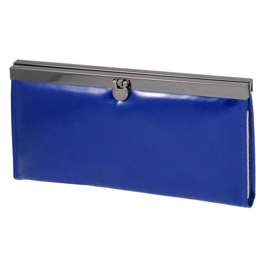 Ladies Blue Faux Leather Horizontal Flip Lock Closure Wallet Purse