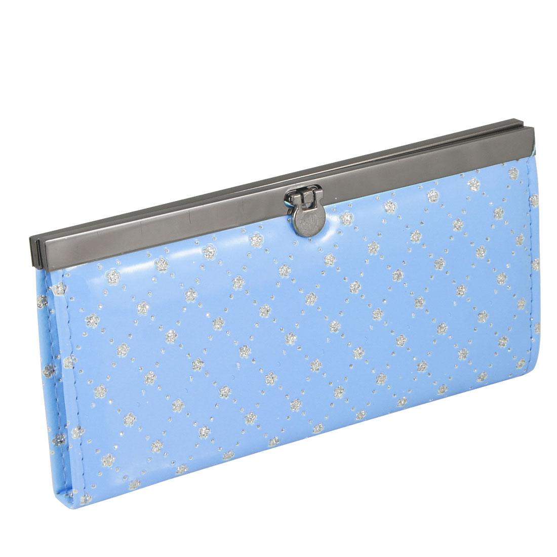 Lady Blue Faux Leather Floral Pattern Flip Lock Wallet Purse