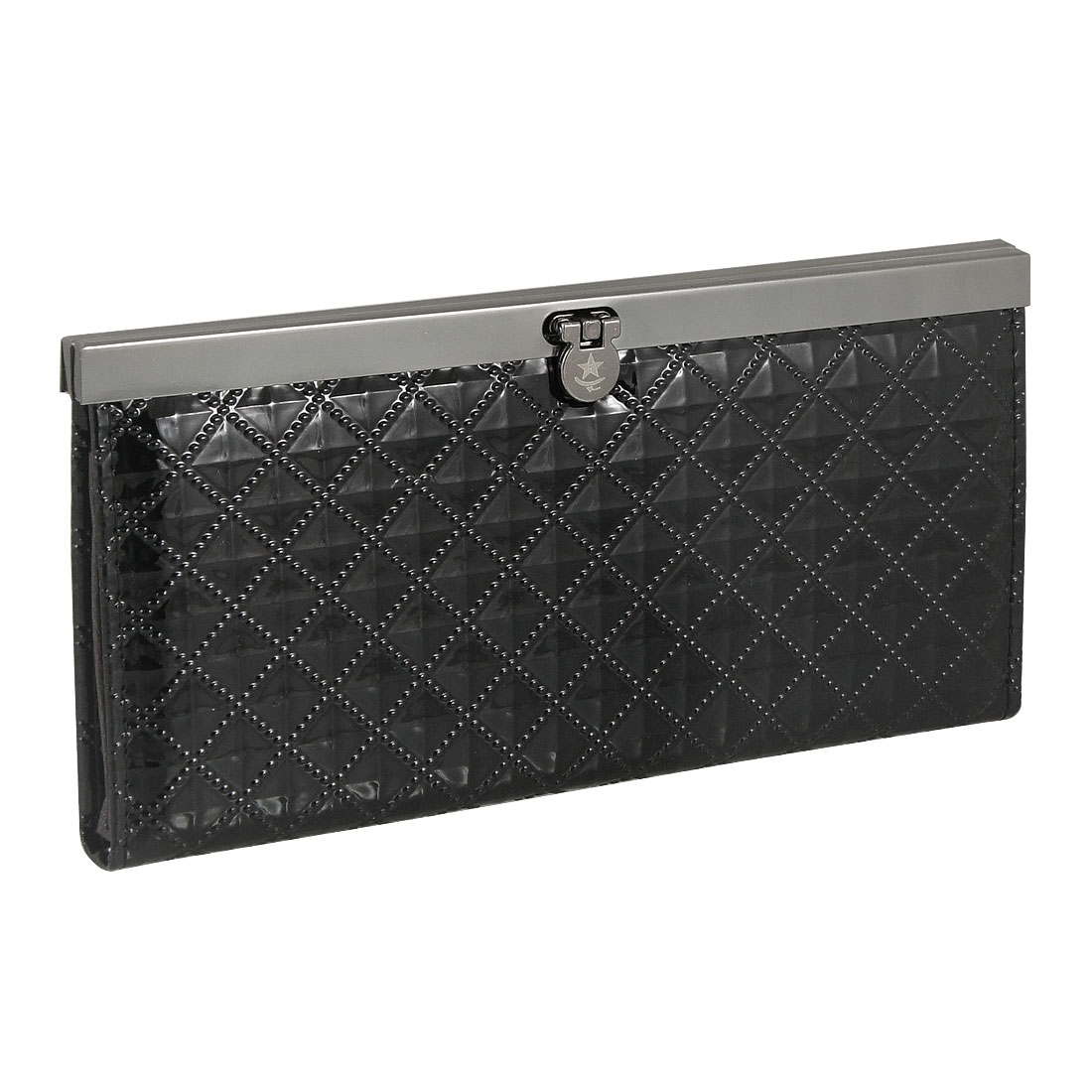 Lady Black Wave Checked Pattern Faux Leather Flip Lock Wallet