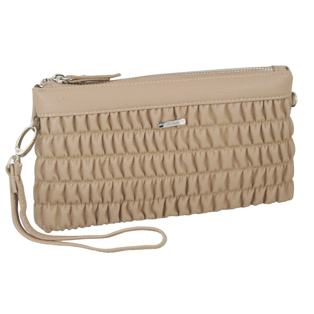 Women Pull Zipper Ruched Khaki Faux Leather Rectangle Shoulder Bag