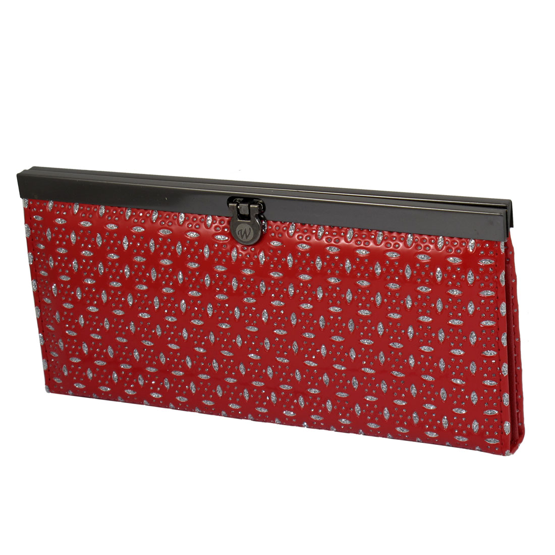 Ladies Red Faux Leather 4 Leaf Print Push Button Closure Wallet Purse