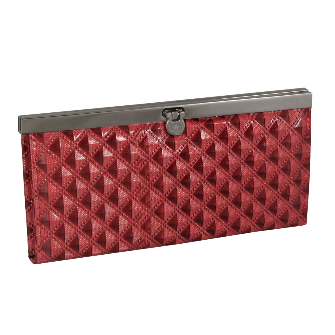 Lady Red Plaids Pattern Faux Leather Flip Lock Wallet