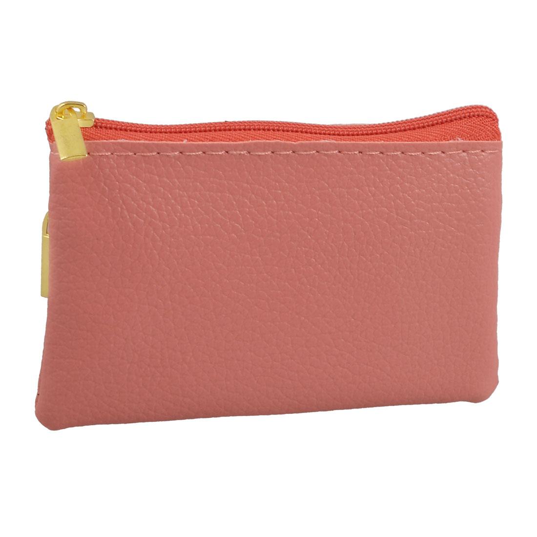 Pink Faux Leather Mini Zipper Bag Key Card Coins Purse Change Wallet