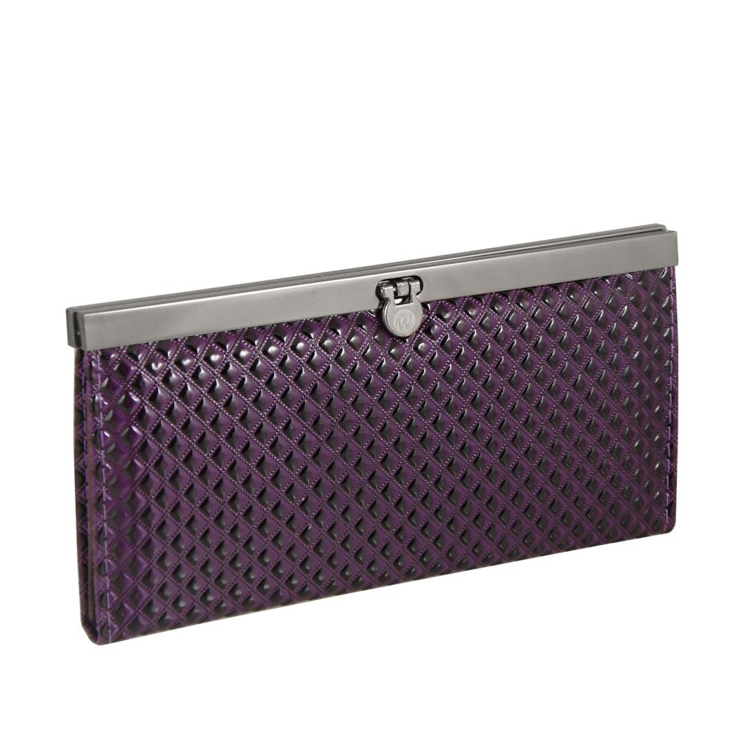Dark Purple Plaids Press Stud Closure Faux Leather Purse Wallet for Lady
