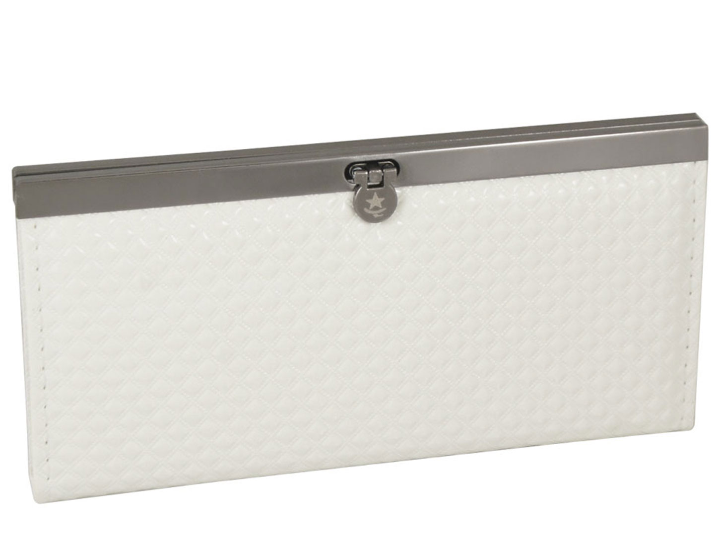 White Grid Printing Faux Leather Flip Lock Wallet Purse for Lady