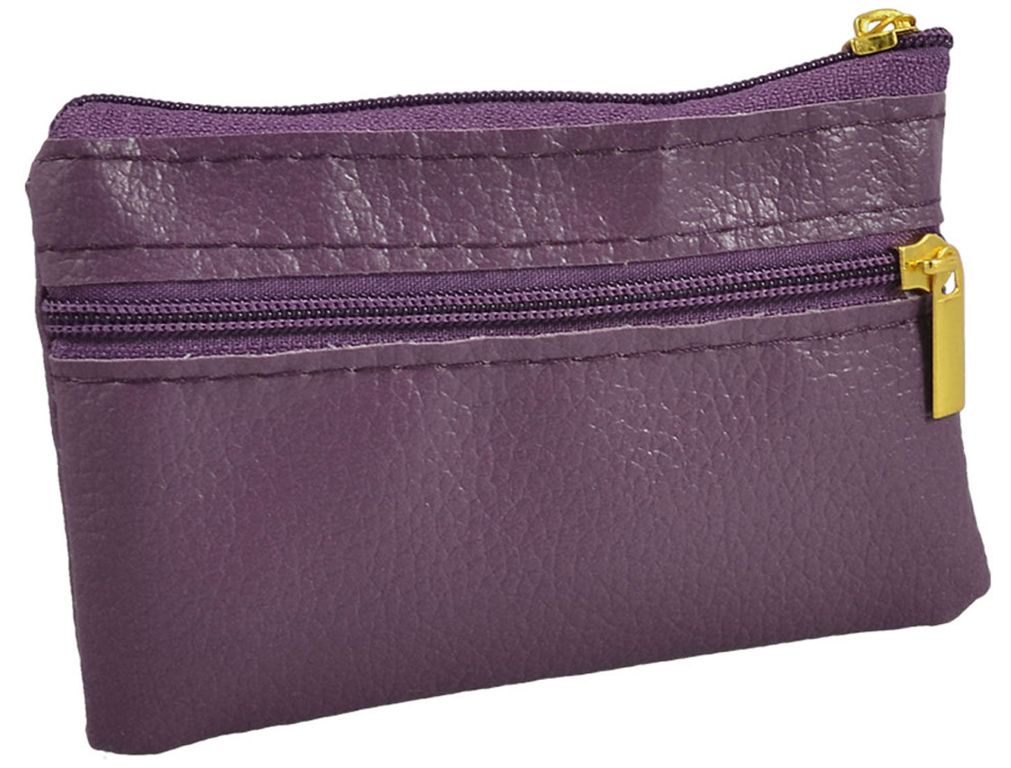 Dark Purple Faux Leather Mini Zipper Bag Key Card Coins Purse Change Wallet