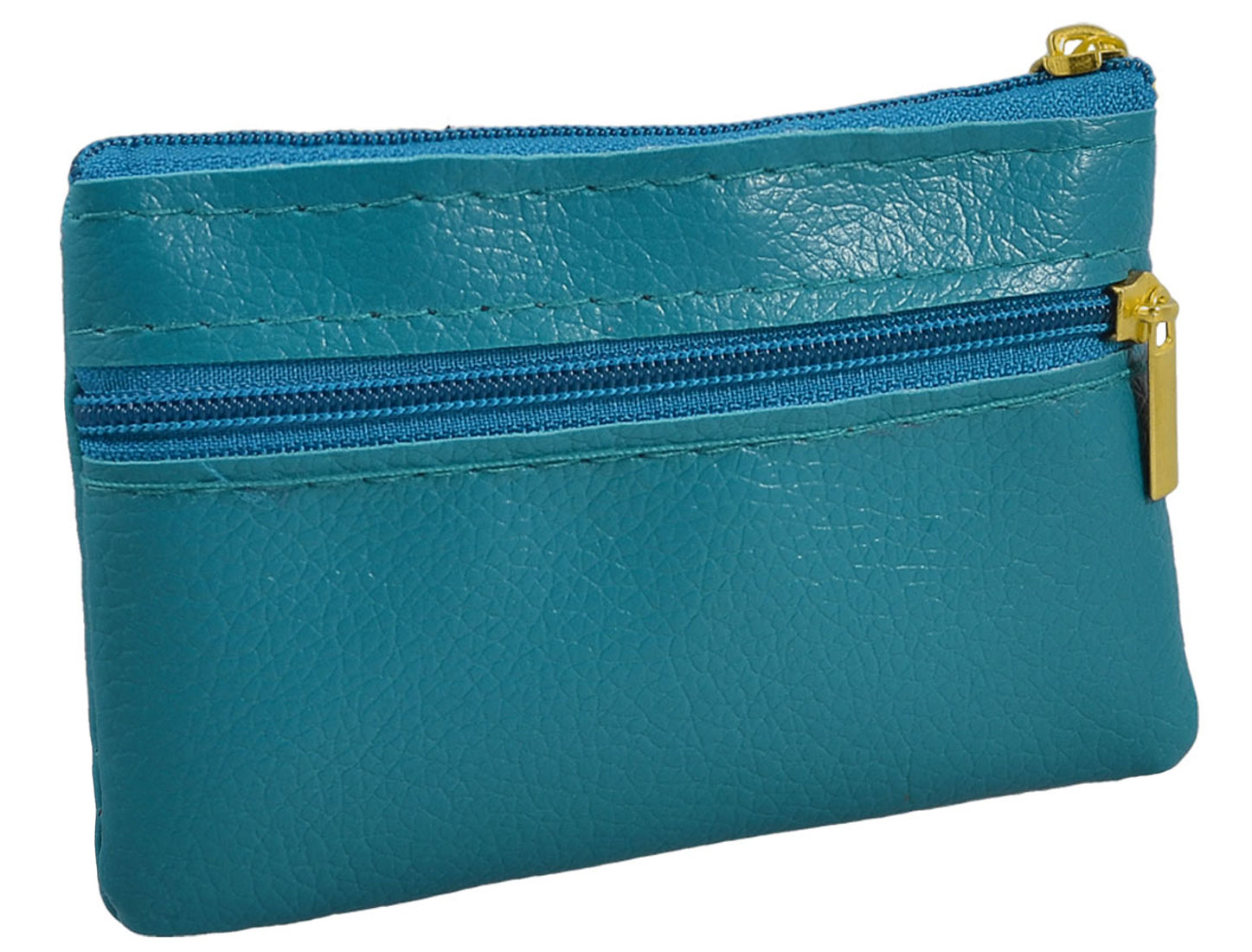 Teal Green Faux Leather Mini Zipper Bag Key Card Coins Purse Change Wallet