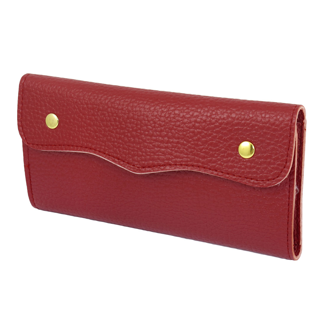Lychee Texture 10 Card Slots Press Stud Closure Wallet Red for Women