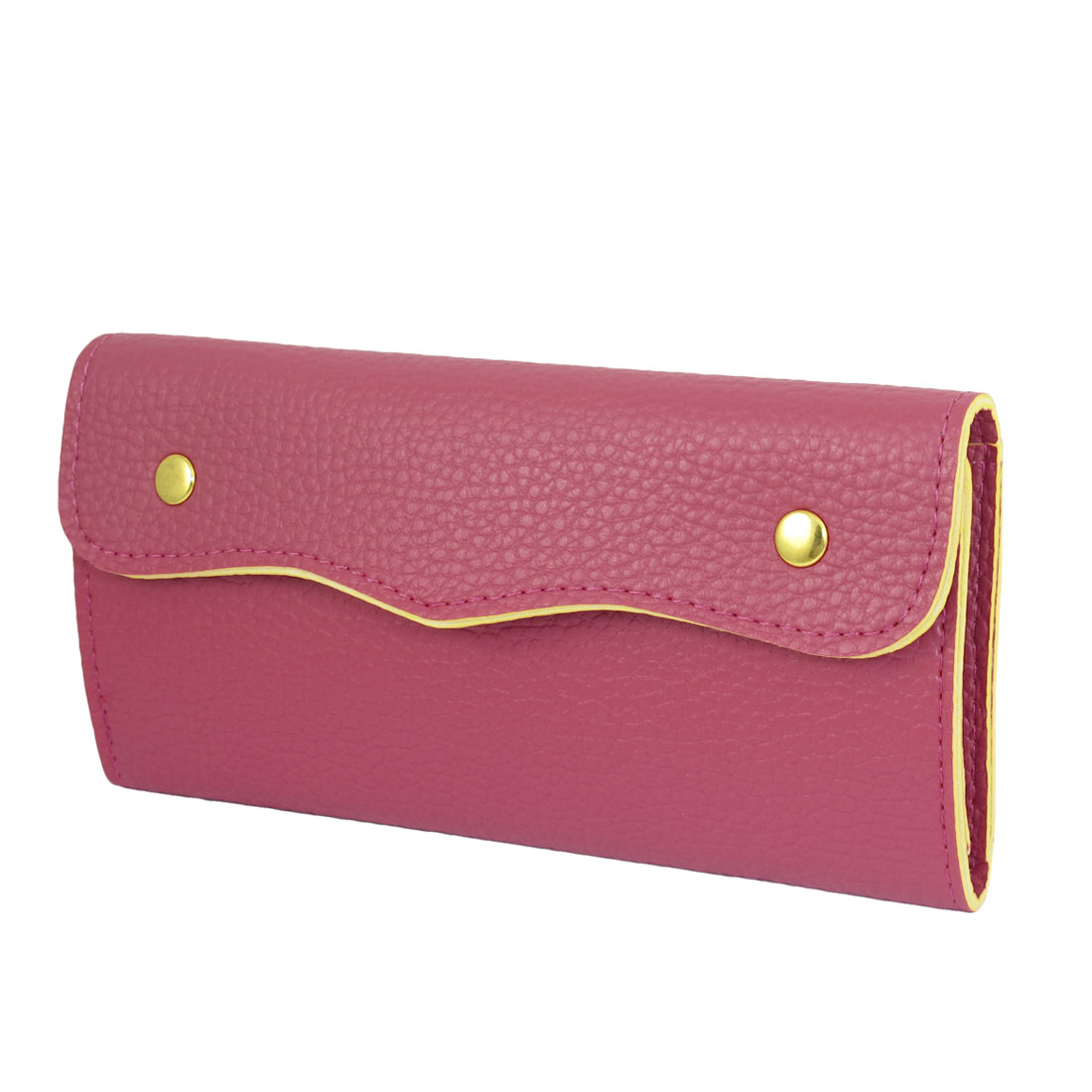 Ladies Magenta Faux Leather Lychee Pattern Press Stud Closure Wallet Purse