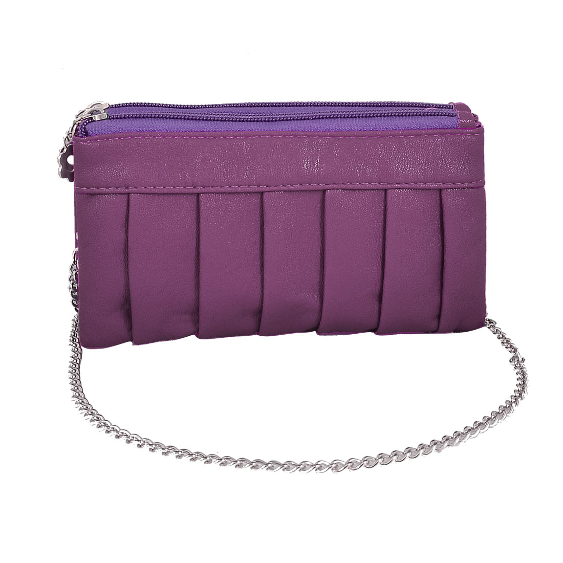 Woman Pleated Detail Faux Leather Wallet Purse Bag Amaranth w Hand Strap