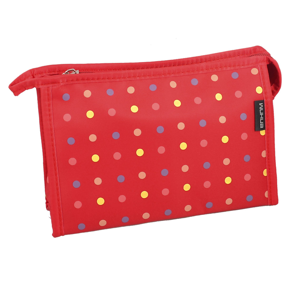 Travel Polka Dot Zipper Make up Cosmetic Bag Pouch Red w Mirror