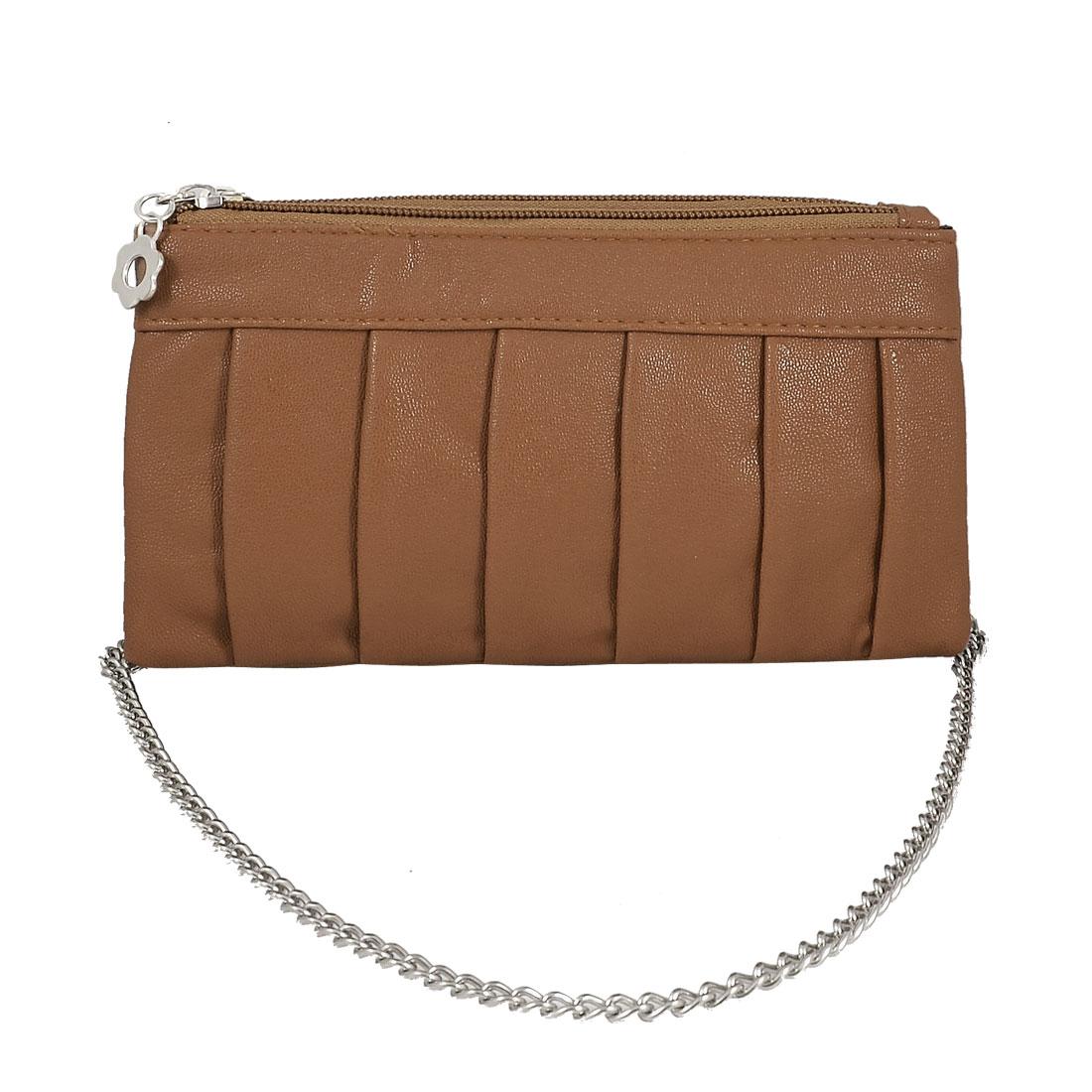 Women Brown Faux Leather 2 Compartments Zip up Mini Purse Wallet Handbag
