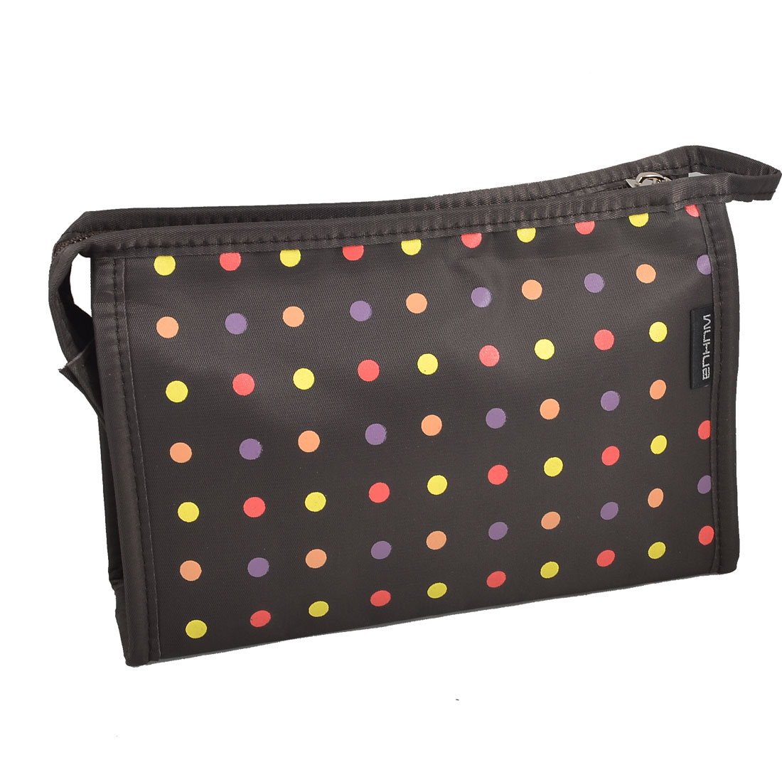Travel Polka Dot Zipper Make up Cosmetic Bag Pouch Brown w Mirror