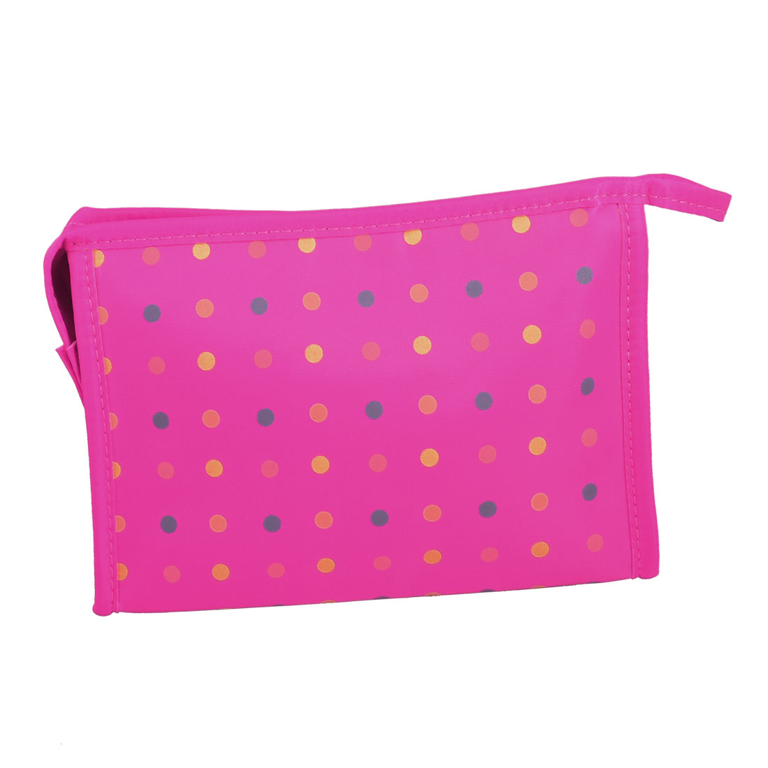 Multicolor Polka Dot Zip up Mirror Cosmetic Bag Pouch Purse Fuchsia