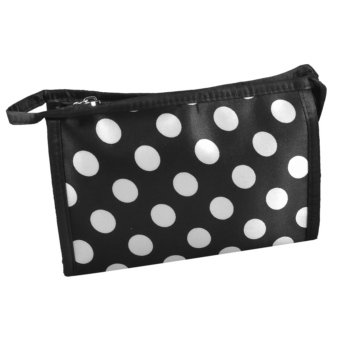 Rectangle Dotted Toiletry Case Cosmetic Bag Pouch White Black w Mirror