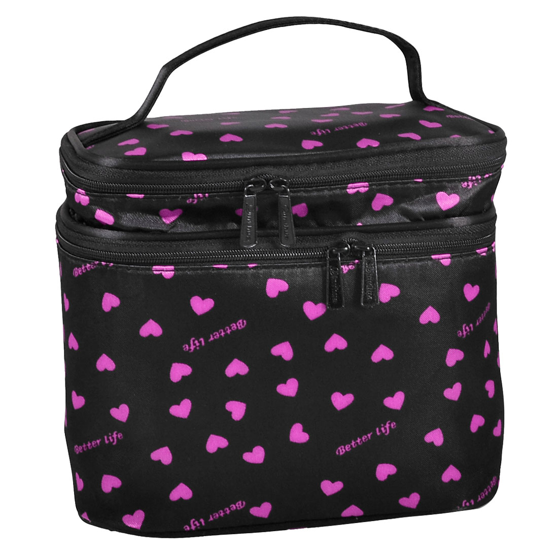 Travel 2 Layers Zip up Case Mirror Make up Cosmetic Bag Fuchsia Black