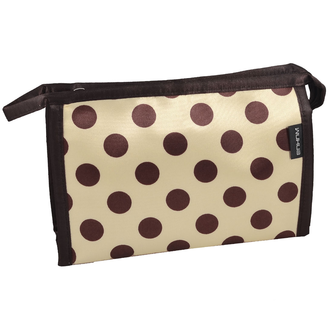 Travel Brown Khaki Polka Dot Cosmetic Bag Pouch Organizer Holder w Mirror