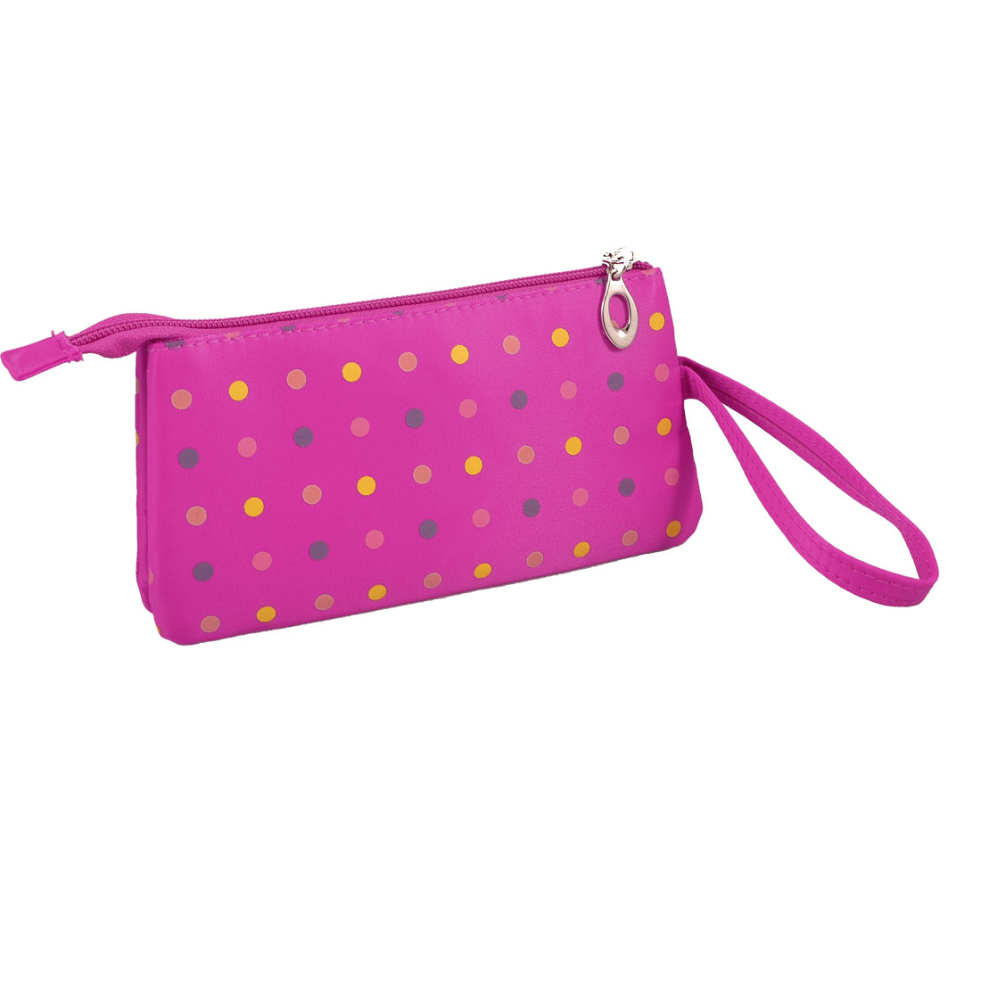 Travel Polka Dot 3 Compartment Wristlet Cosmetic Bag Pouch Fuchsia w Mirror