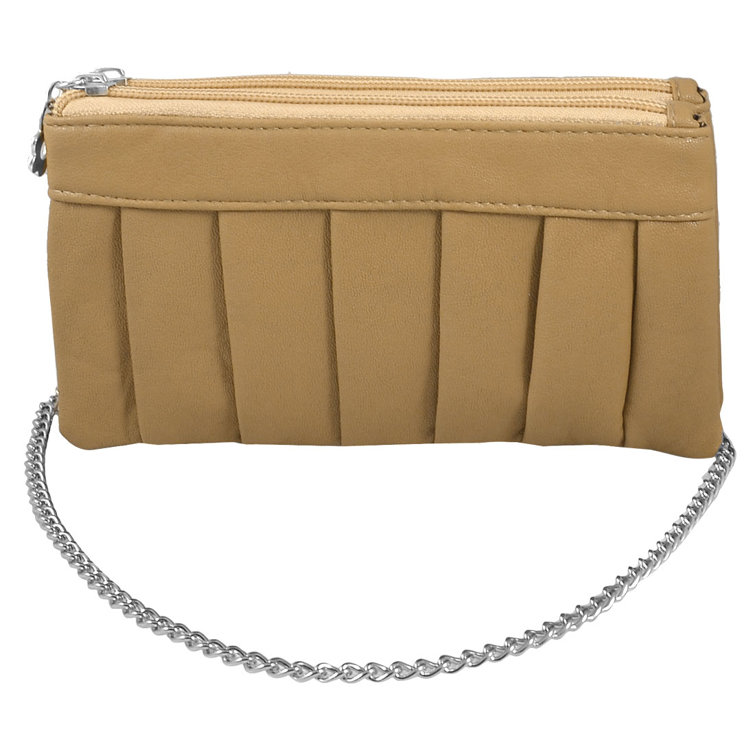 Woman Pleated Detail Faux Leather Wallet Purse Bag Beige w Wristlet Strap