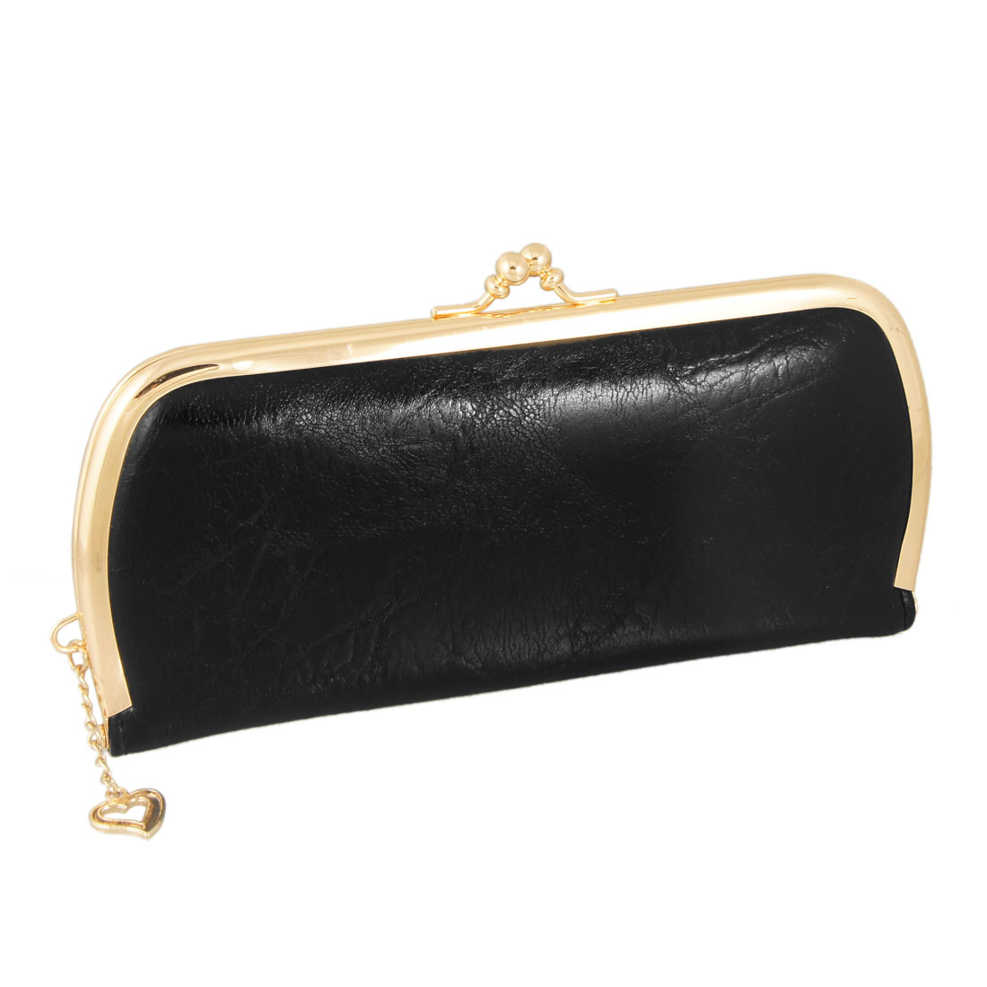 Ladies Gold Tone Heart Pendant Kisslock Closure Black Faux Leather Wallet