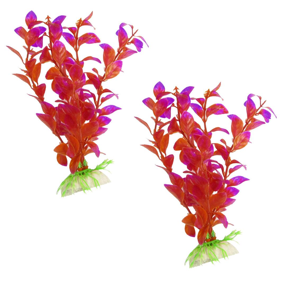2 Pcs Purple Red Flower Plastic Waterweed Grass for Aquarium Fish Tank