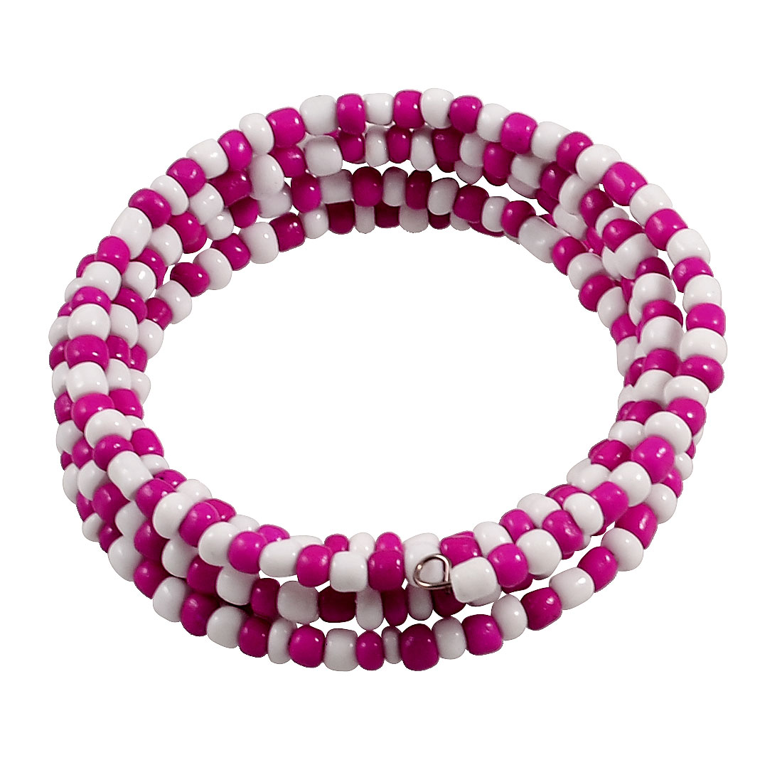 Woman Fuchsia White Plastic Round Beaded Flexible Wire Bracelet Bangle