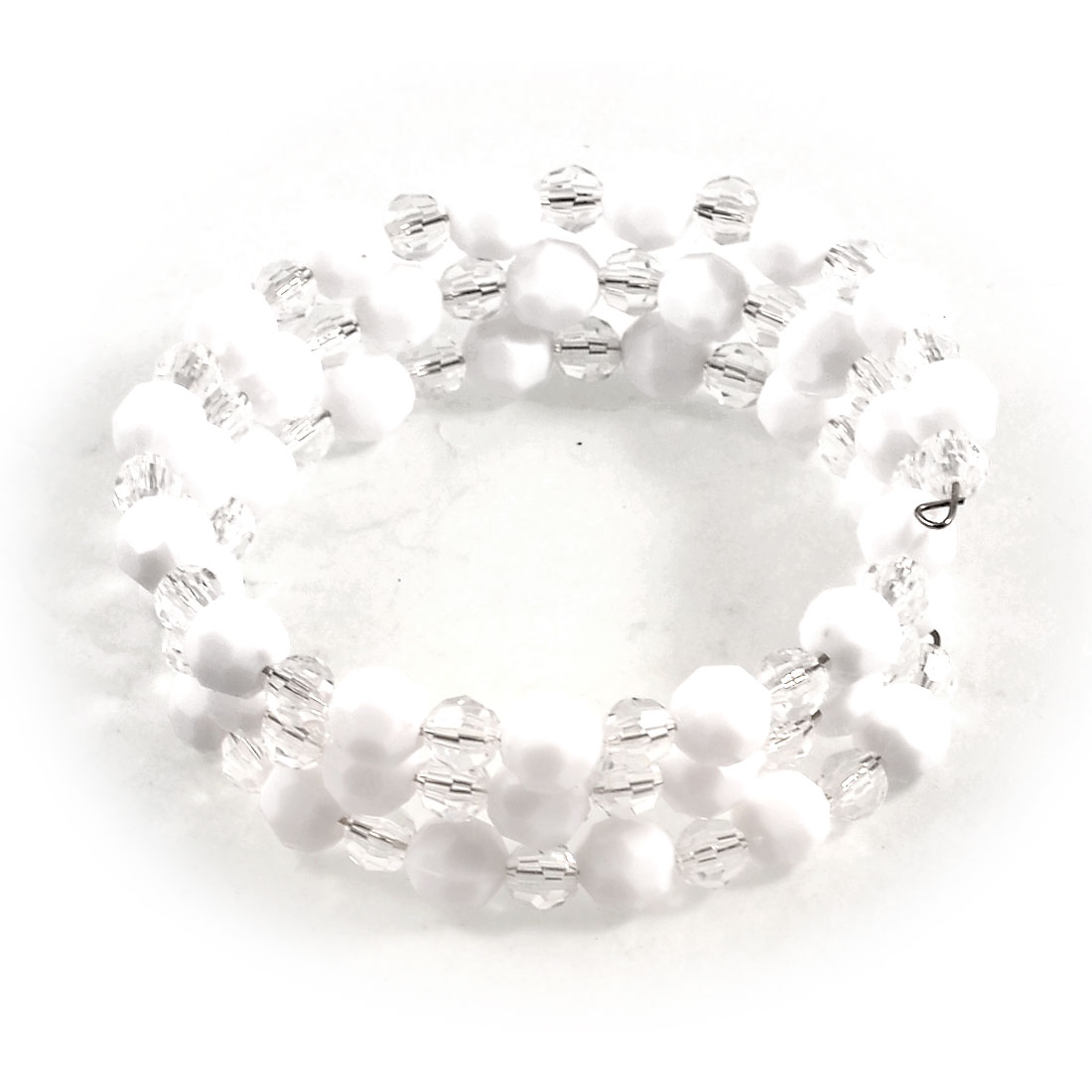 White Clear Plastic Beads Linked Triple Layers Bracelet Ornament for Lady