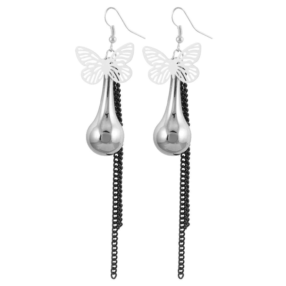 Silver Gray White Butterfly Pendant Metal Fish Hook Earrings for Women