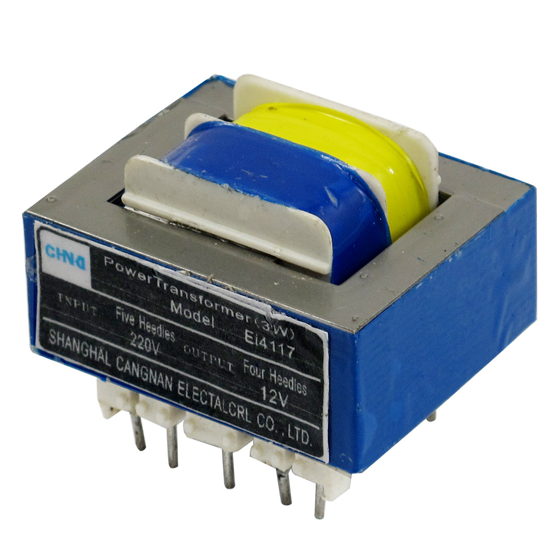 220V Input 12V 3W Output Ferrite Core EI Power Transformer w 9 Pins