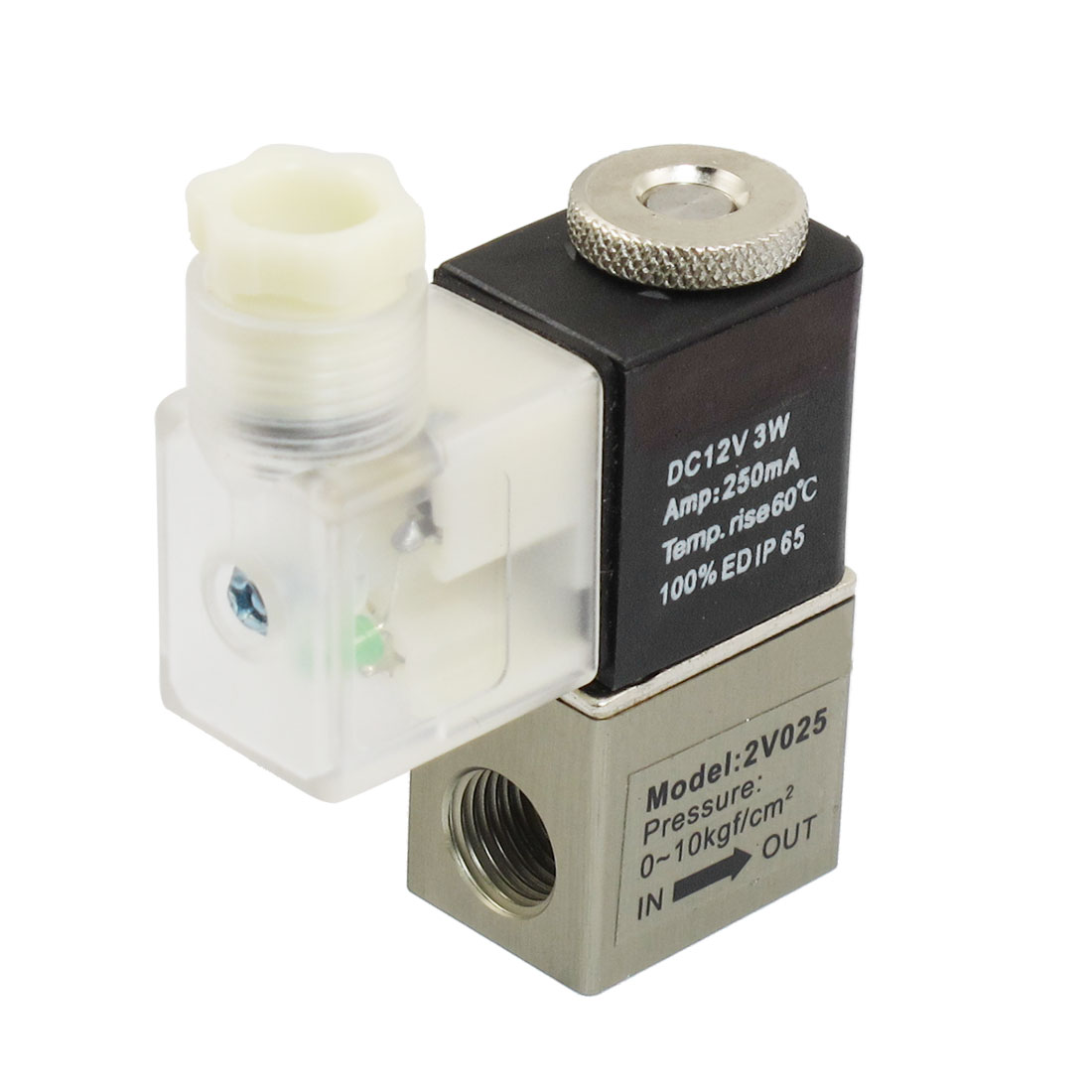 DC 12V 250mA 3W 2 Position 2 Way Air Pneumatic Electromagnetic Solenoid Valve G1/4""