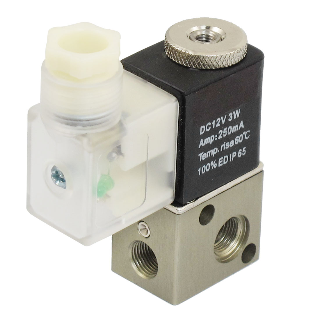 DC 12V 3W 250mA 2 Position 3 Way Pneumatic Electromagnetic Solenoid Valve G1/8""