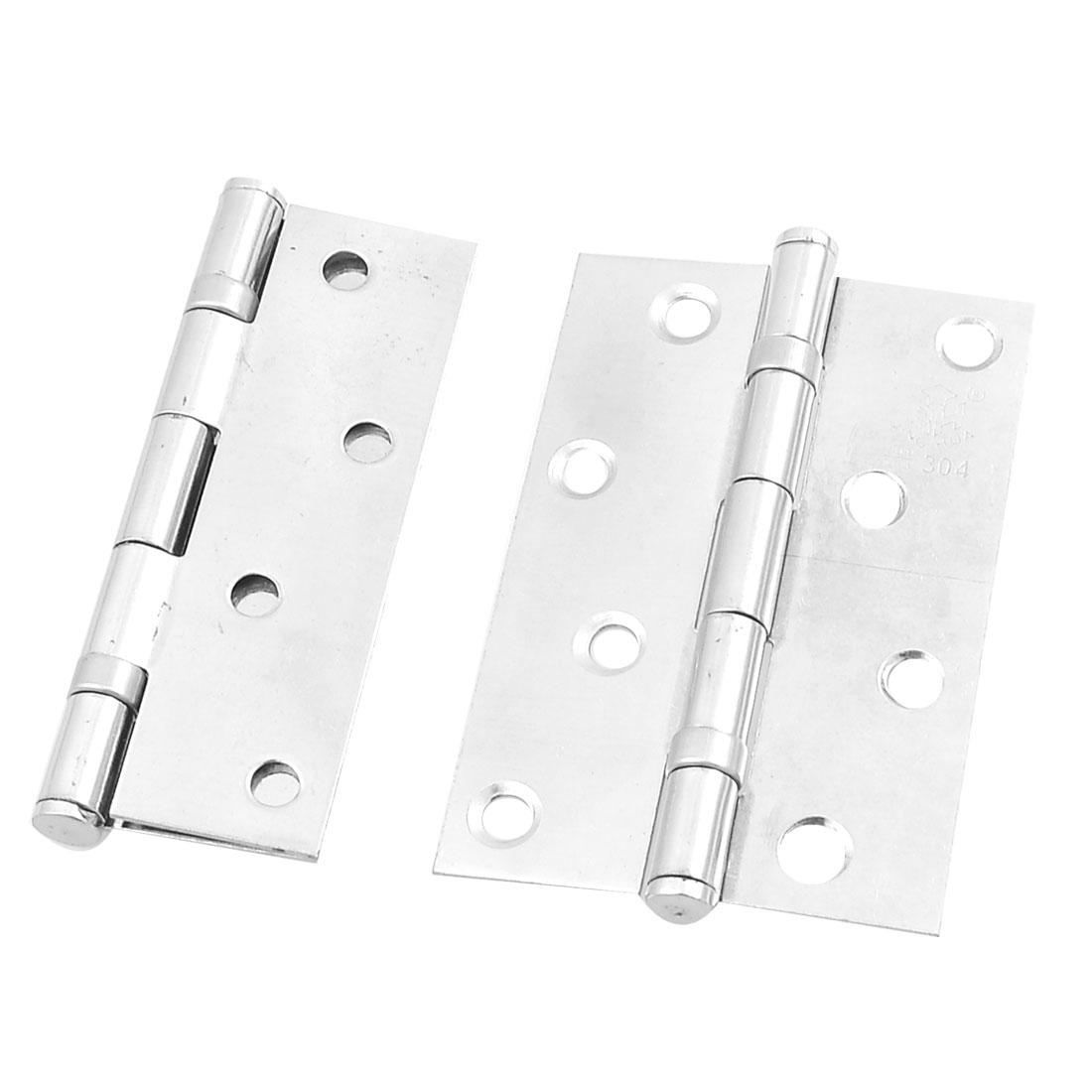 "2 Pcs 3.5"" Long Silver Tone Stainless Steel Rotatable Door Hinges w Screws"