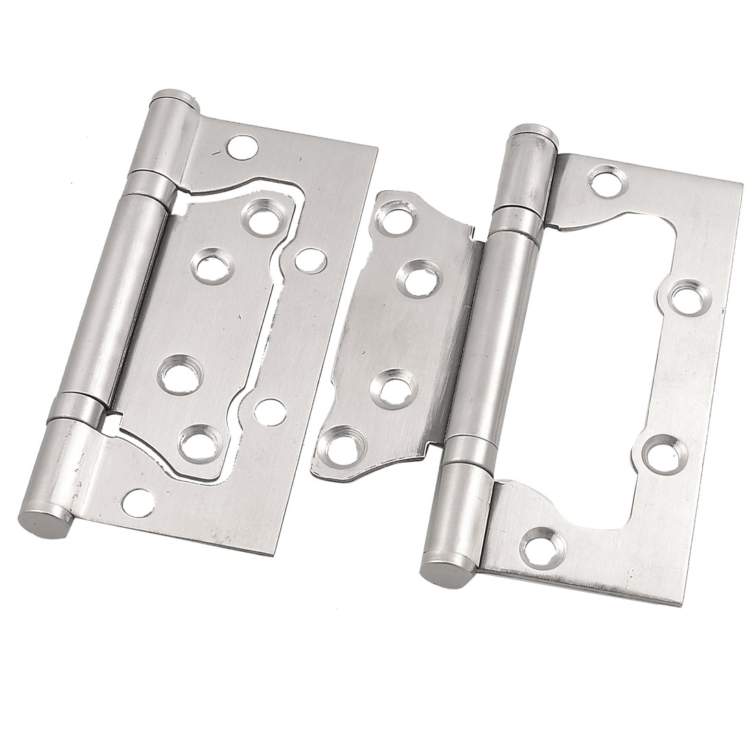 "2 Pcs Silver Tone Omnidirectional Rotatable Closet Door Hinge 4"" Long"