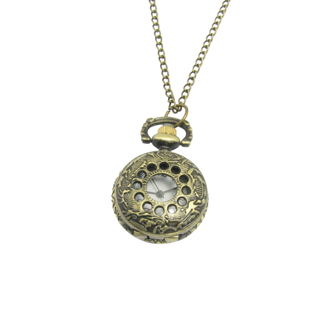 Bronze Tone Hollowed Dots Arabic Numbers Pocket Quartz Watch Necklace
