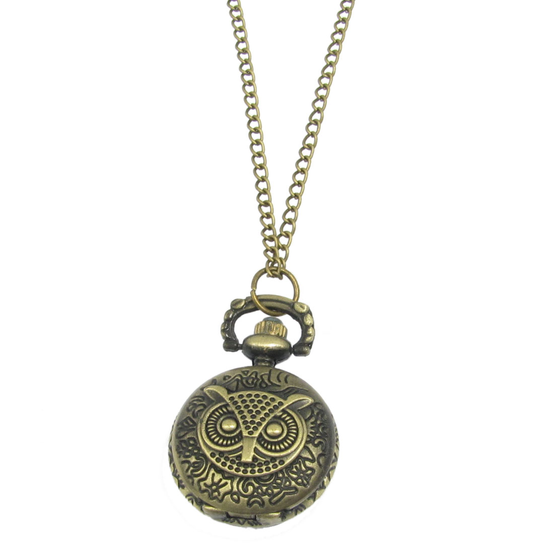 Bronze Tone Flower Carved Owl Case Numbers Quartz Necklace Watch