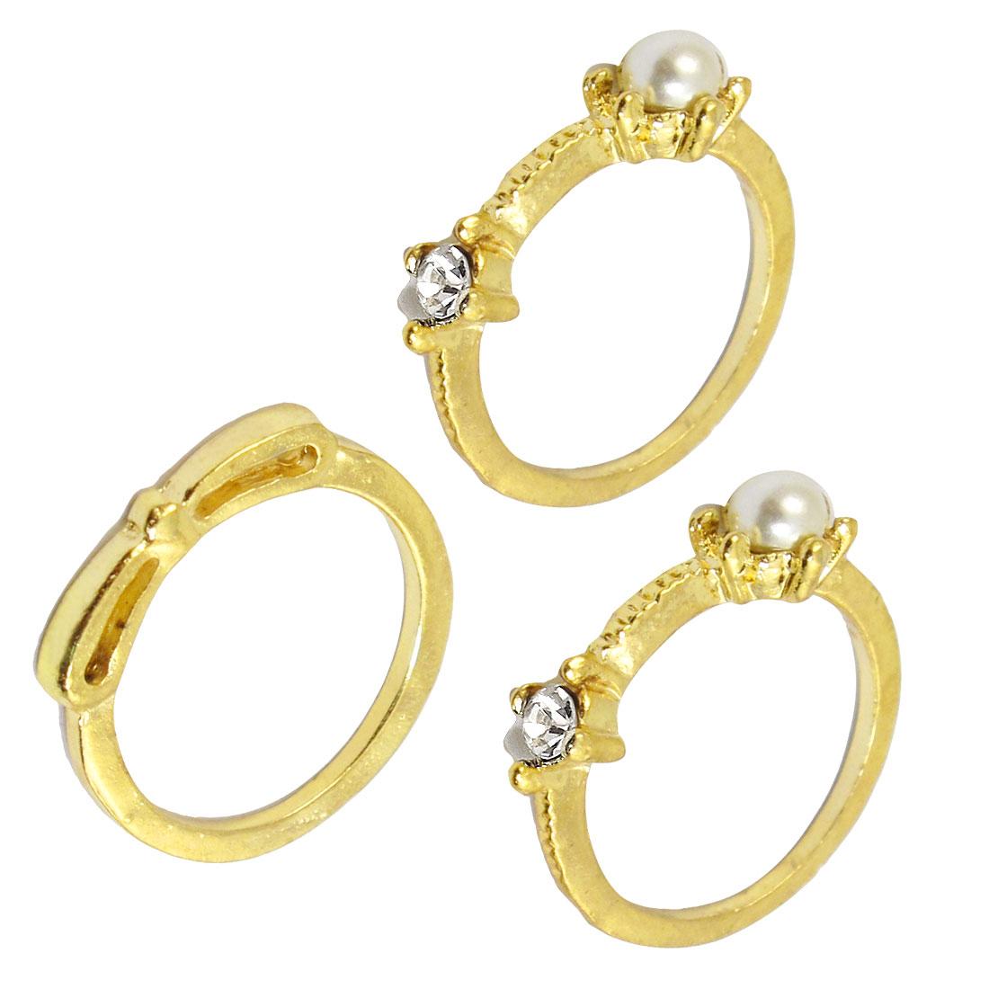 3 Pcs Women Golden Tone Round Faux Pearl Decor Finger Ring US 5 1/4