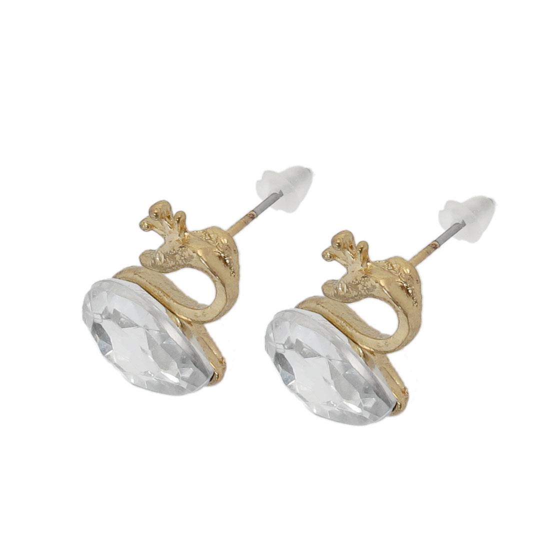 Women Pair Metal Golden Tone Swan Accent Ear Stud Earrings