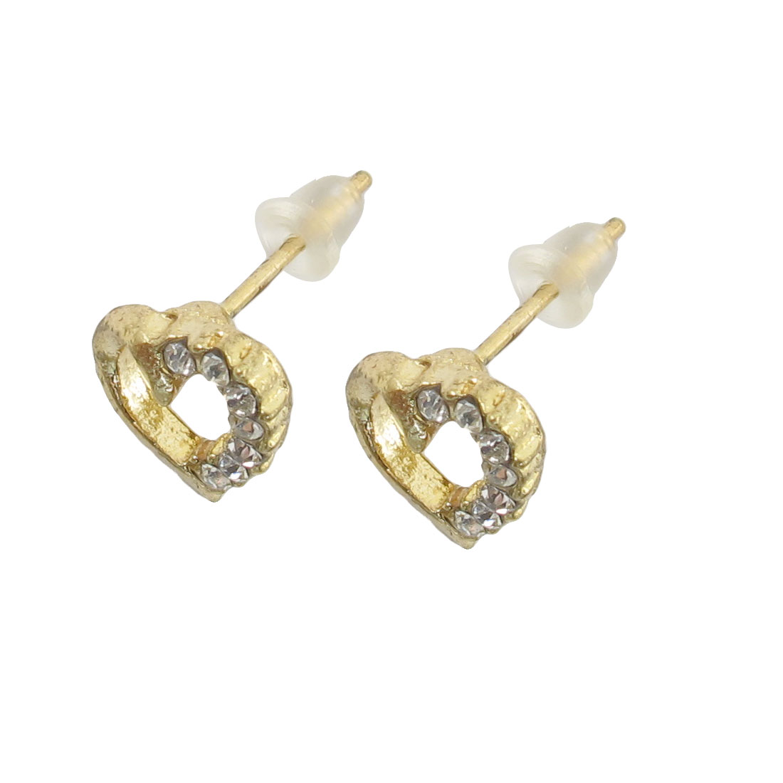 Pair Ladies Golden Tone Heart Accent Faux Crystal Inlaid Stud Earrings