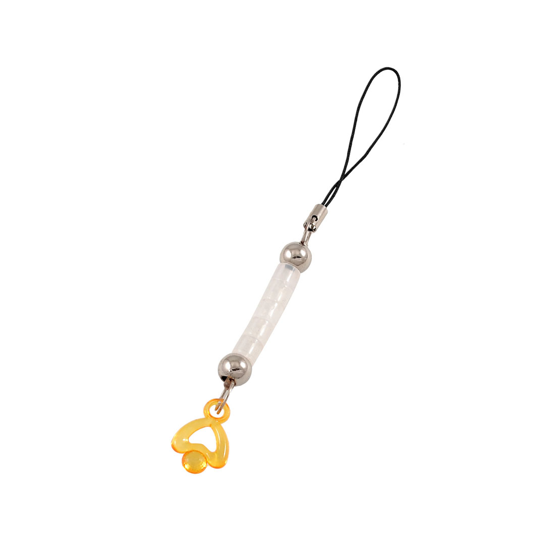 Yellow Heart Shape Pendant UV Reflector Color Changing Cellphone Chain