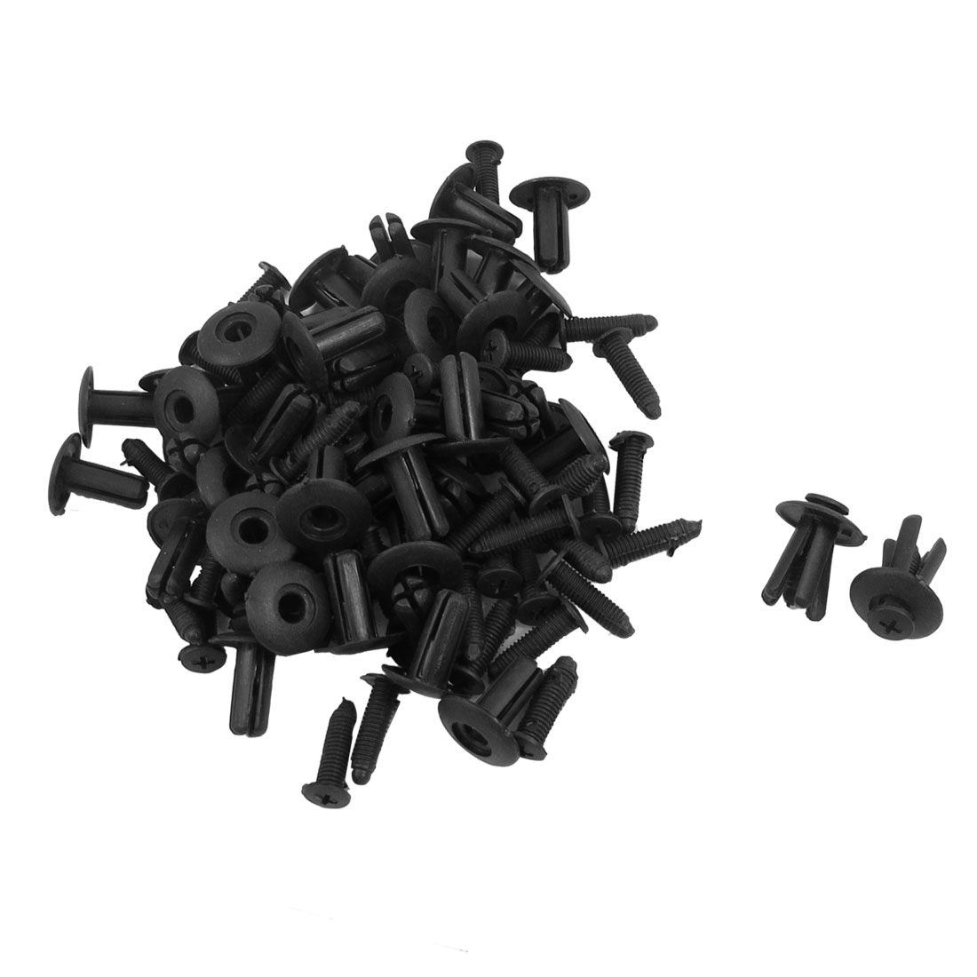 50 Pcs Auto Car Fender Black Plastic Rivets Retainer Clips 20 x 23 x 8mm