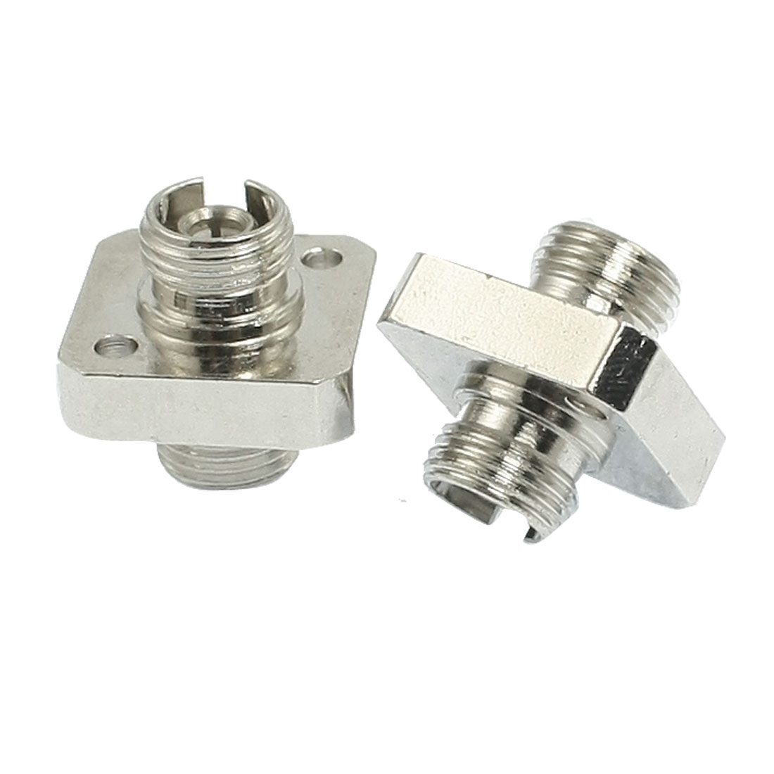 2 Pcs Square Metal FC Flange Type Multimode Fiber Optic Attenuator Adapter