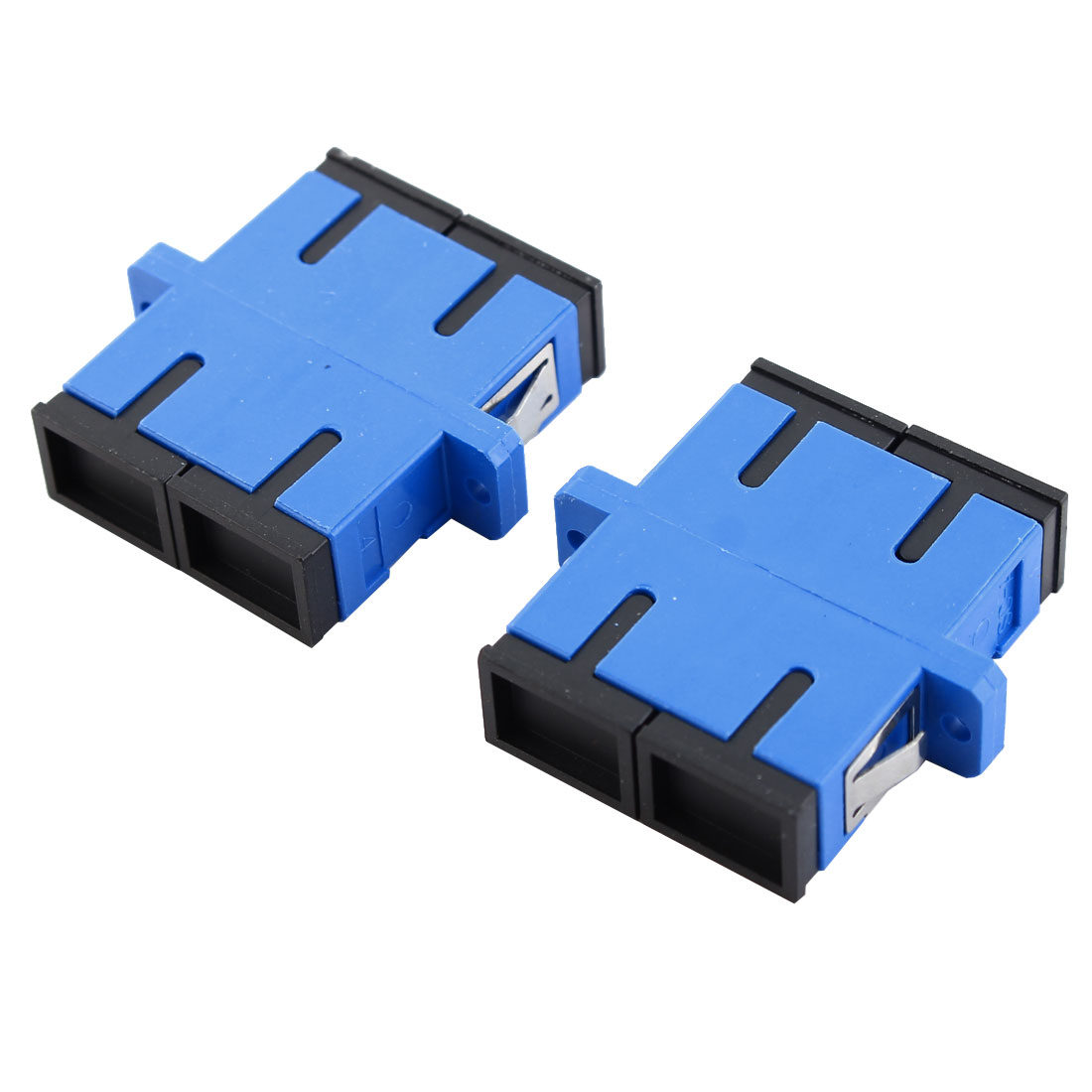 2 Pcs SC/SC Duplex Flange Fiber Optical Connector Adapter Coupler Blue Black