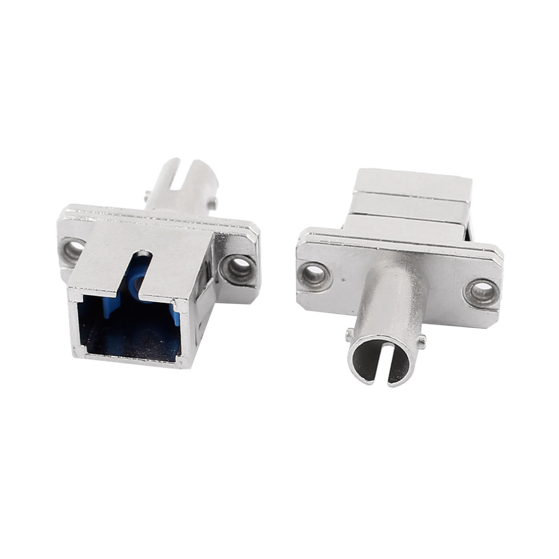 Silver Tone Metal FC to SC Flange Fiber Optic Adapter Cable Coupler 2 Pcs